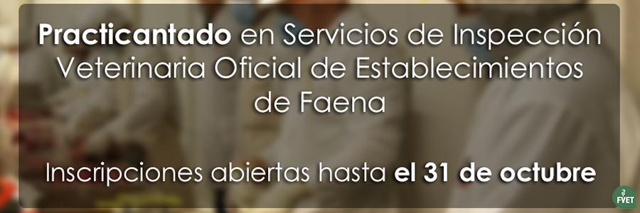 Practicantado en Servicios de Inspección Veterinaria Oficial de Establecimientos de Faena