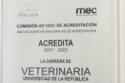 CDC felicita a FVET por la Acreditación de la Carrera